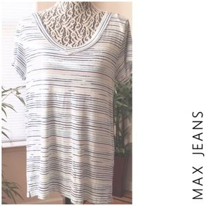 MAX JEANS Hello Stripe Blue Short Sleeve Tee Top S